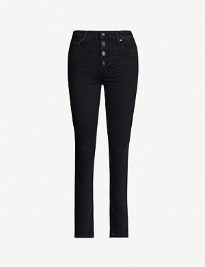 PAIGE Hoxton button-fly skinny high-rise jeans