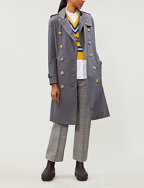 ce5524916 BURBERRY The Kensington Heritage check-lined cotton-gabardine trench coat