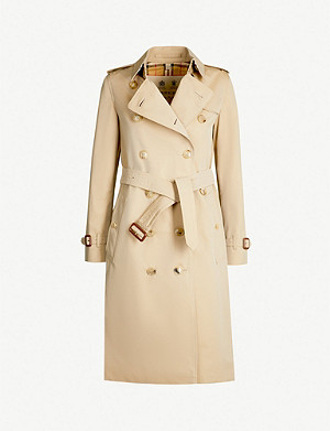 BURBERRY The Kensington Heritage check-lined cotton-gabardine trench coat