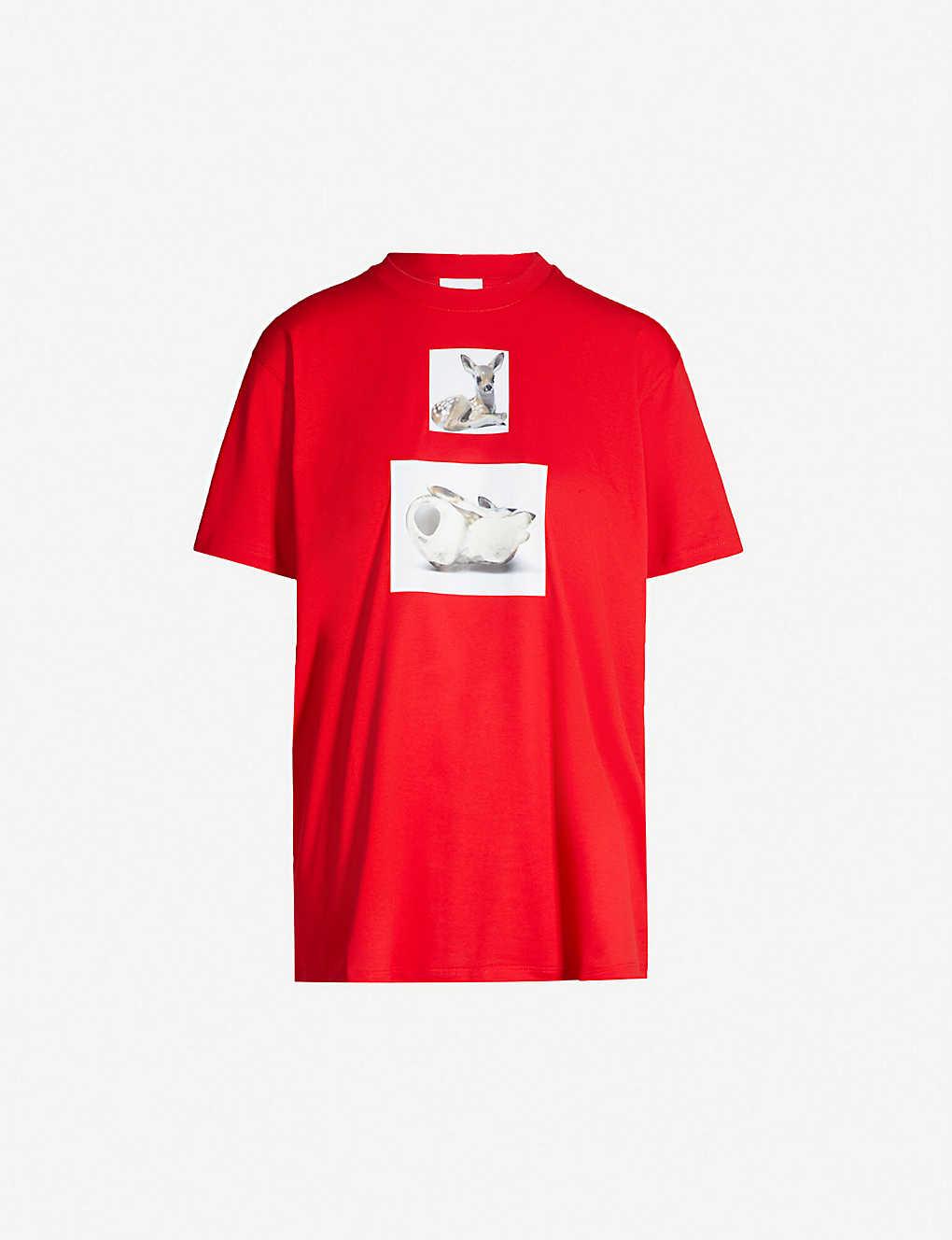 Burberry Shirts Deer-print cotton-jersey T-shirt