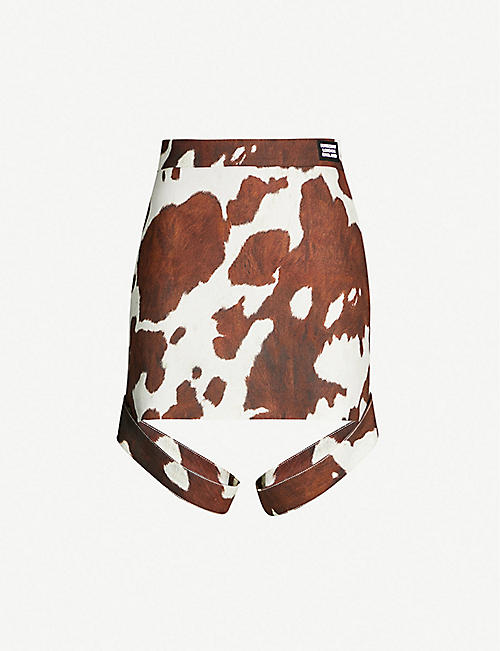 BURBERRY Cow-print cotton and linen-blend mini skirt