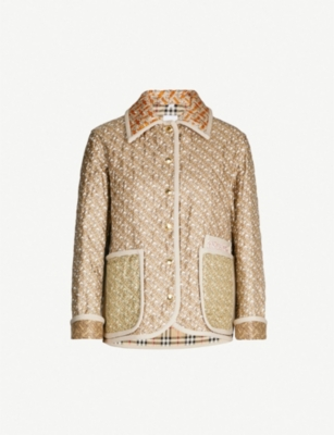 BURBERRY Monogram-print quilted silk coat