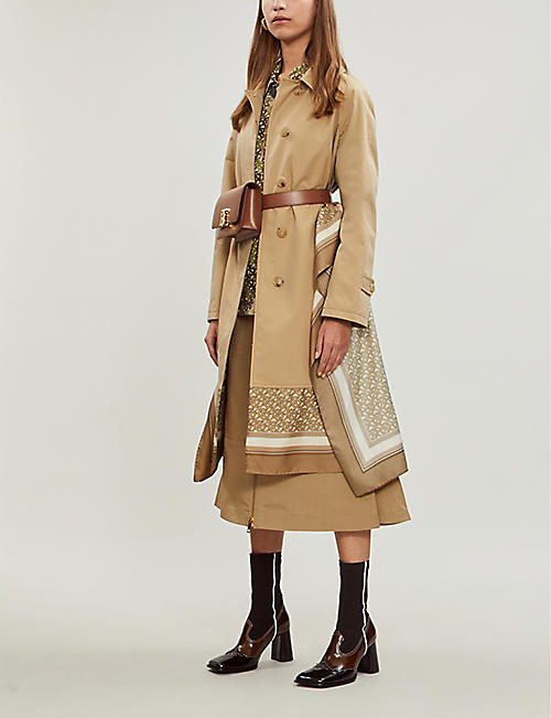 BURBERRY Contrast-layered cotton and silk trench coat