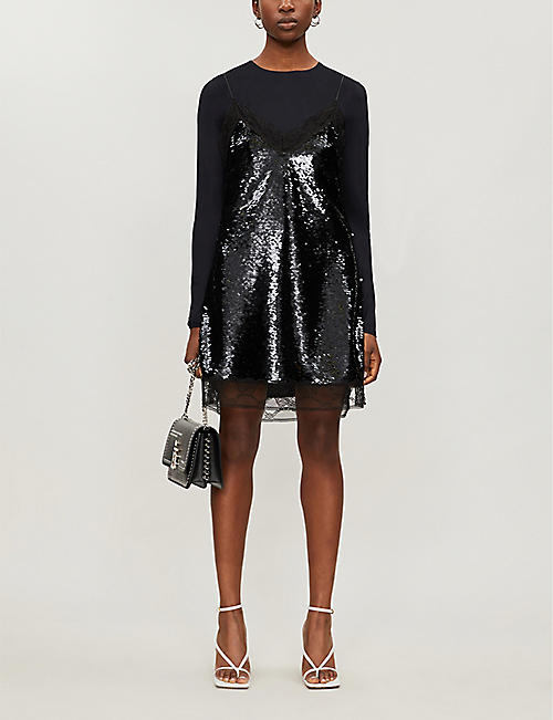 BURBERRY Lace-trim sequinned slip dress