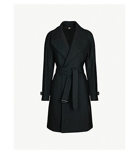 908f02f27e94d ... BURBERRY Cranston double-breasted wool-blend trench coat (Black.  PreviousNext
