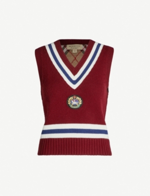 BURBERRY Crest-embroidered sleeveless wool and cashmere-blend top