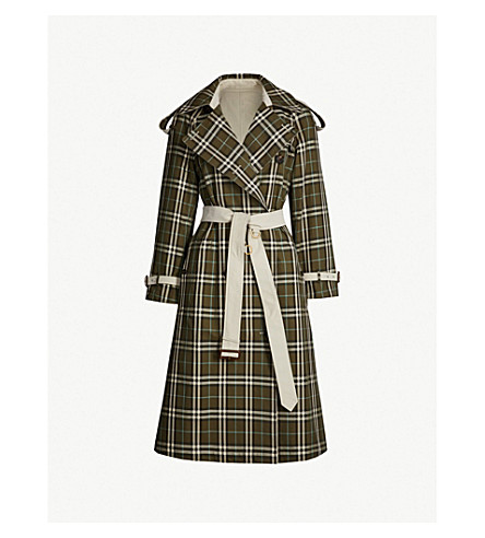 ... BURBERRY Eastleigh reversible checked cotton-gabardine trench coat  (Green+olive. PreviousNext 50942b7fcdd