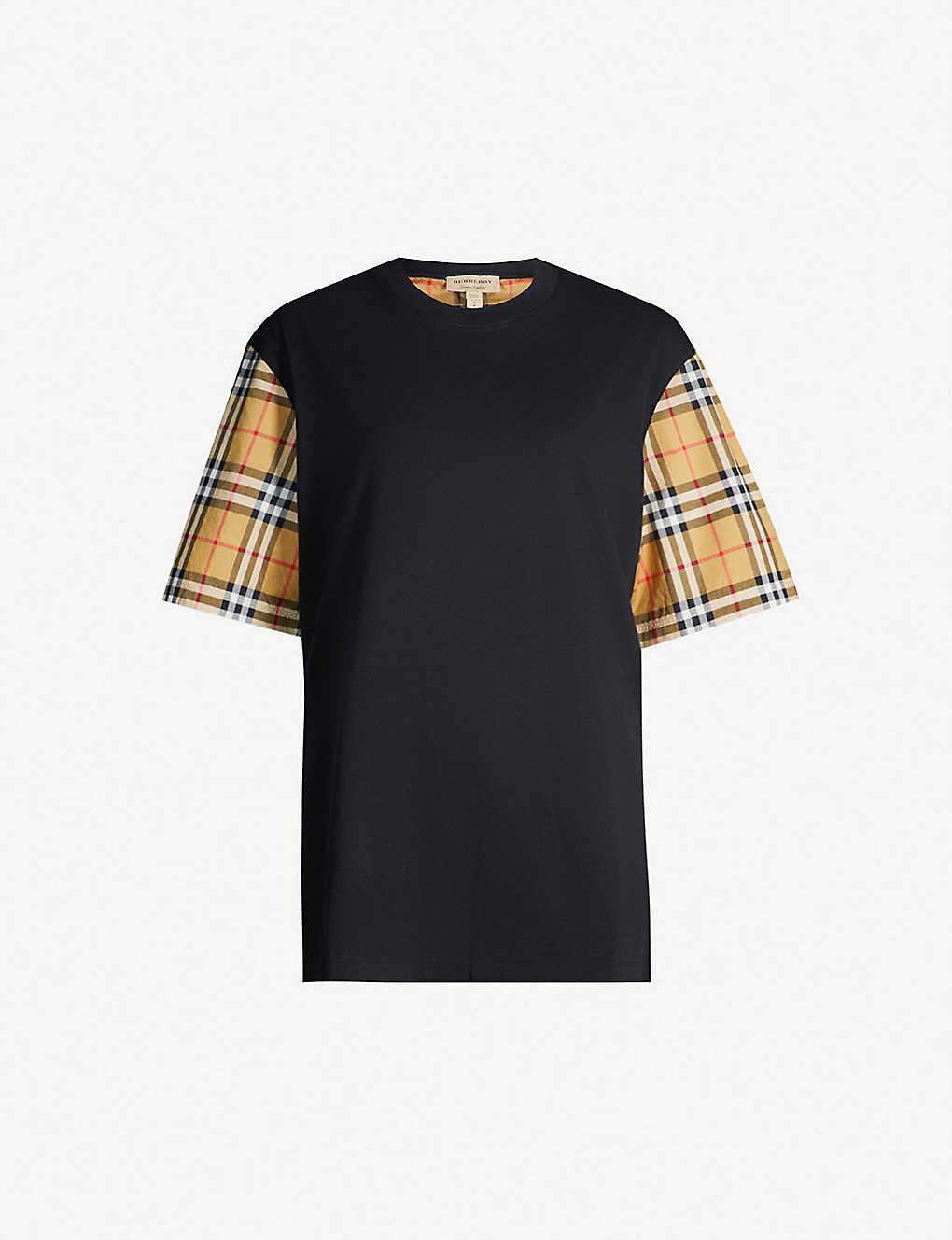 a60290cbfc BURBERRY - Serra checked-sleeve cotton-jersey T-shirt