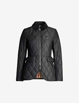BURBERRY Ongar contrast-collar quilted shell jacket