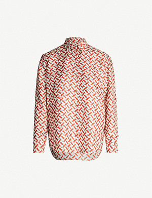 BURBERRY Signature-print collared silk shirt