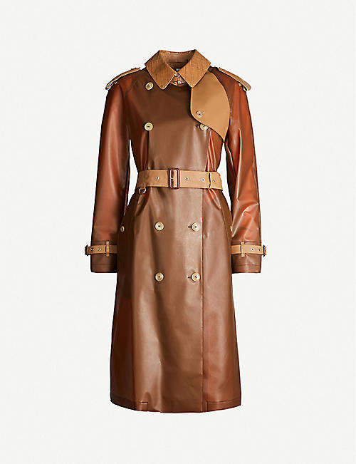 BURBERRY Double-breasted faux-leather trench coat