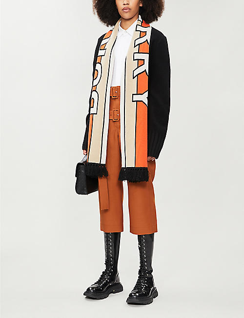 BURBERRY Kopeka scarf-panel wool and cashmere-blend cardigan