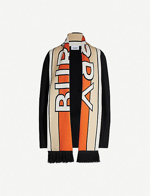 BURBERRY: Kopeka scarf-panel wool and cashmere-blend cardigan