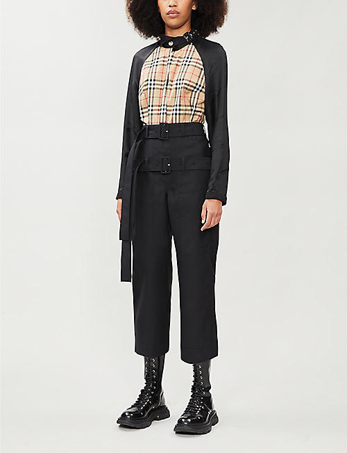 BURBERRY Ottie checked stretch-cotton and satin shirt