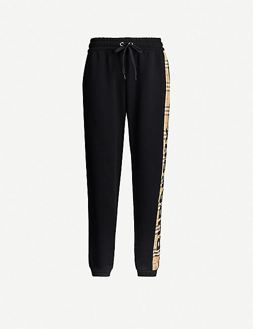 BURBERRY Raine checked-panel tapered cotton-jersey jogging bottoms