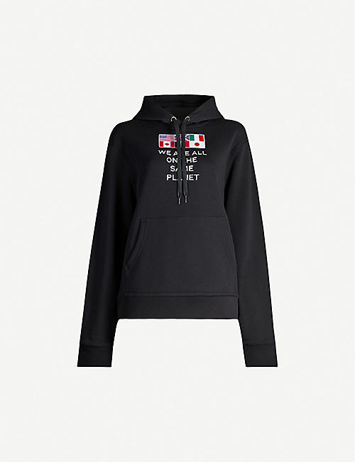 BURBERRY: Poulter text-embroidered cotton-jersey hoody