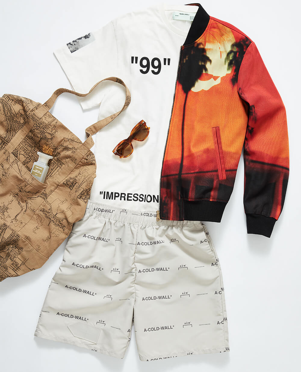 dc0222abf Paul Smith - jacket   A-Cold-Wall  – shorts   OFF-WHITE – T-shirt   Acne  Studios – sunglasses   Reese Cooper – tote