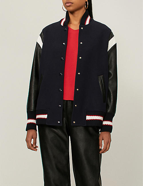 47047c646f STELLA MCCARTNEY Appliquéd faux-leather and wool varsity jacket