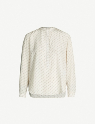 STELLA MCCARTNEY Eva logo-print silk-crepe de chine shirt