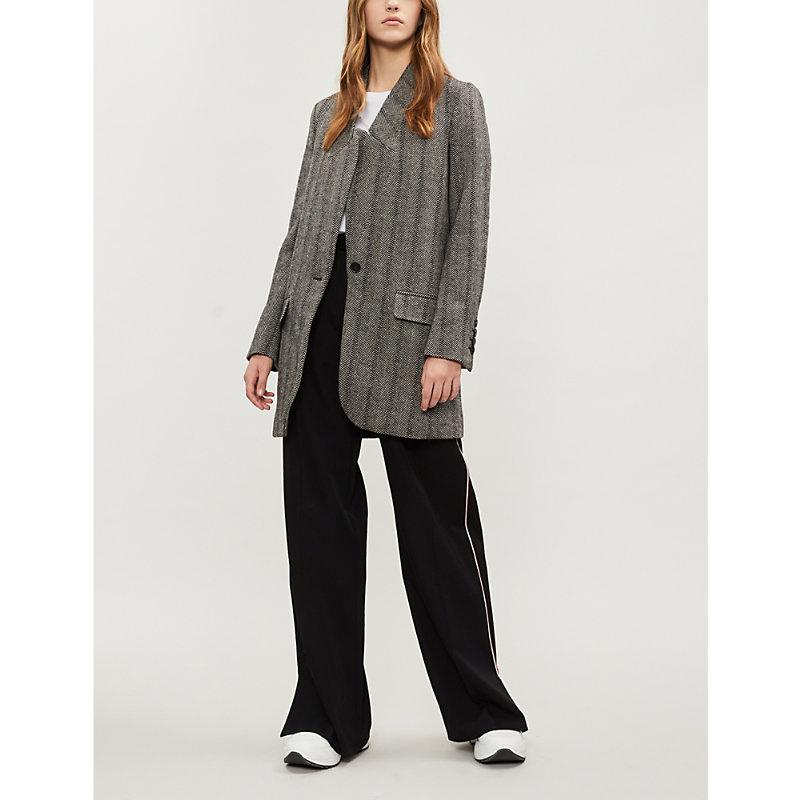 Bryce Herringbone Wool-Blend Coat, Black