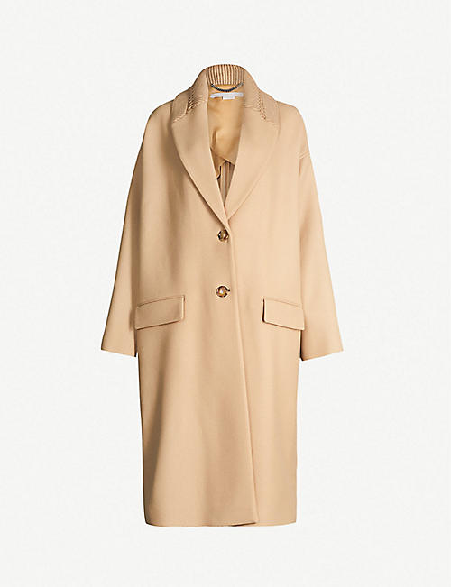 ecc01a4920 STELLA MCCARTNEY Knitted-collar wool-blend coat