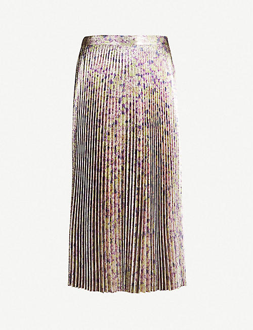 61582ad94269 STELLA MCCARTNEY Floral-print metallic pleated midi skirt