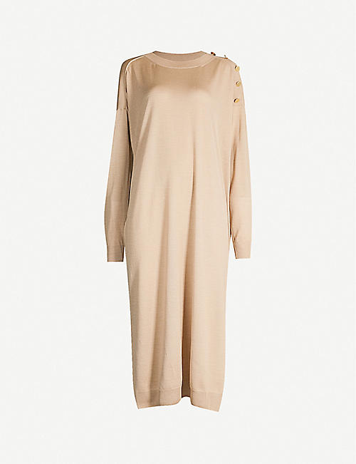 baa3e550 STELLA MCCARTNEY Long-sleeved wool and silk-blend midi dress