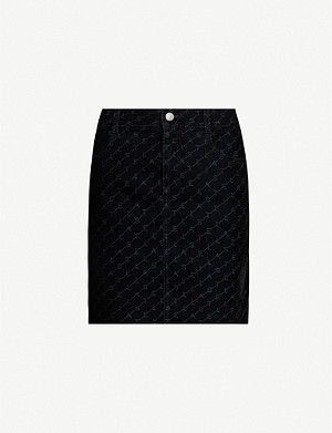 STELLA MCCARTNEY Monogram-covered velvet skirt