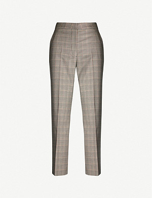 STELLA MCCARTNEY Prince of Wales check-print cropped high-rise wool trousers
