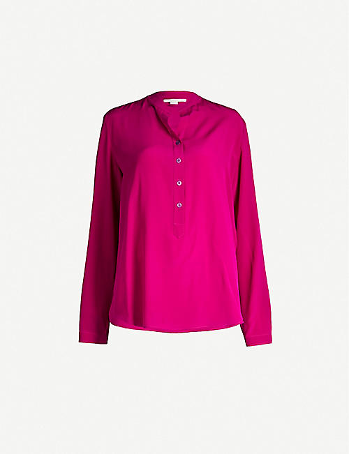 dd8d9687 STELLA MCCARTNEY Band-collar silk-crepe shirt