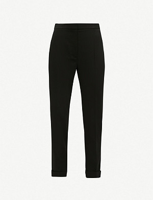 STELLA MCCARTNEY Turn-up tapered mid-rise wool trousers