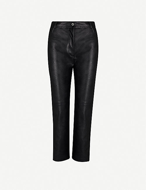 STELLA MCCARTNEY Cropped high-rise faux-leather trousers