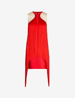 STELLA MCCARTNEY Halterneck fringed crepe mini dress