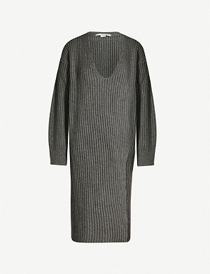 STELLA MCCARTNEY Asymmetric V-neck cashmere and wool-blend jumper