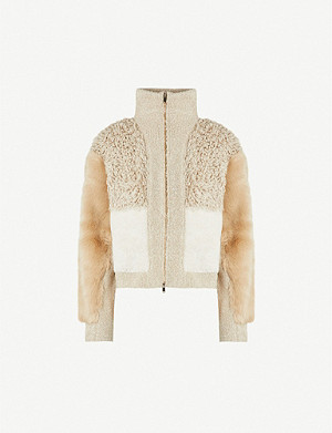 STELLA MCCARTNEY High-neck panelled wool-blend and faux-fur jacket