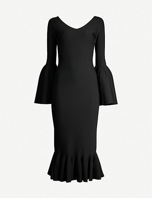 41000dfa0360 STELLA MCCARTNEY Fluted-sleeve flared-hem crepe midi dress