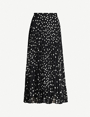 STELLA MCCARTNEY Polka-dot pleated chiffon midi skirt