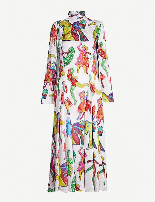 STELLA MCCARTNEY Graphic-print long-sleeved silk-satin dress