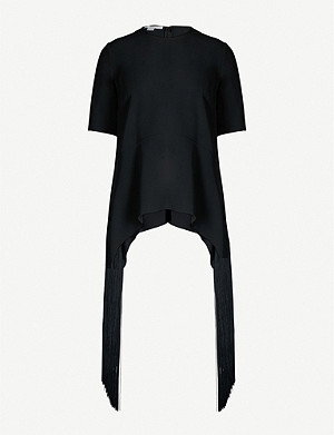 STELLA MCCARTNEY Fringed asymmetric-hem crepe top