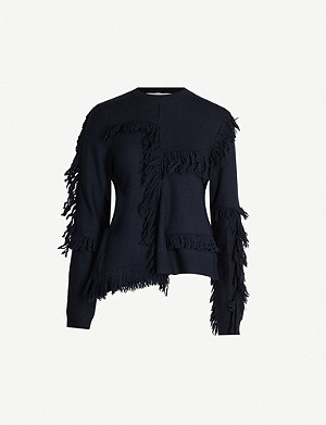 STELLA MCCARTNEY Fringe-trimmed asymmetric wool jumper