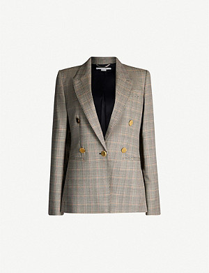 STELLA MCCARTNEY Double-breasted Prince of Wales checked wool jacket