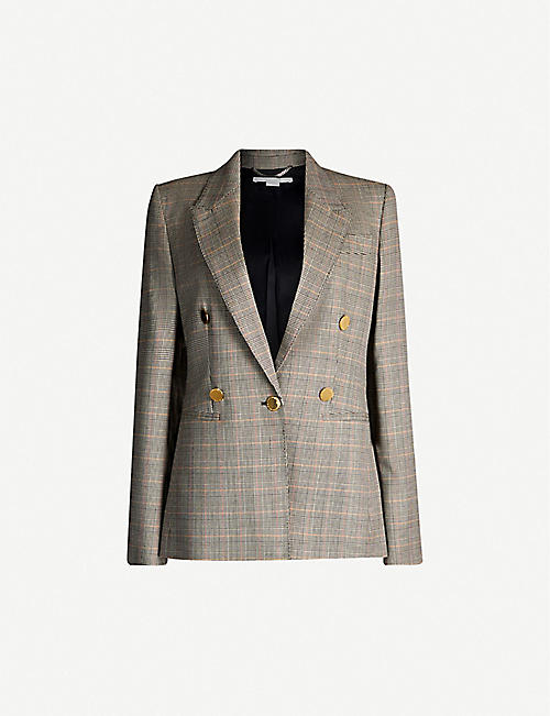 55f34deb8c8 STELLA MCCARTNEY Double-breasted Prince of Wales checked wool jacket