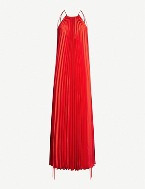 STELLA MCCARTNEY Pleated sleeveless satin midi dress