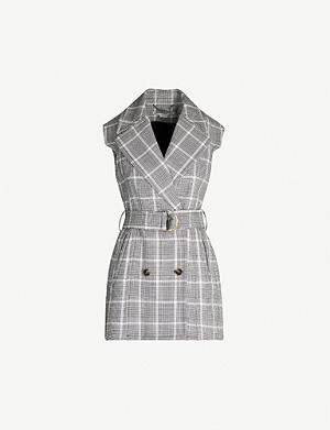 STELLA MCCARTNEY Prince of Wales checked belted sleeveless wool jacket