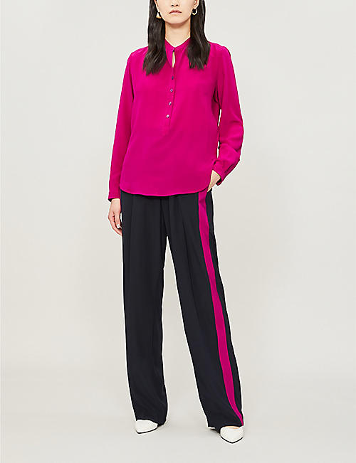 STELLA MCCARTNEY Side-stripe high-rise silk-crepe wide-leg trousers