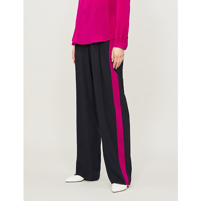 Stella Mccartney Side-Stripe High-Rise Silk-Crepe Wide-Leg Trousers In Ink