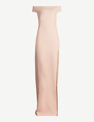STELLA MCCARTNEY Off-the-shoulder embellished side-split crepe gown