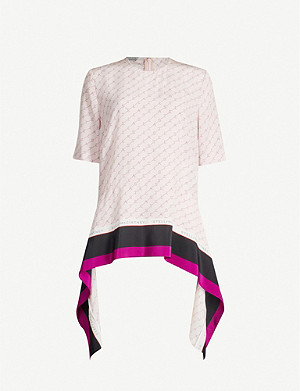 STELLA MCCARTNEY Contrast-hem logoed silk-satin top