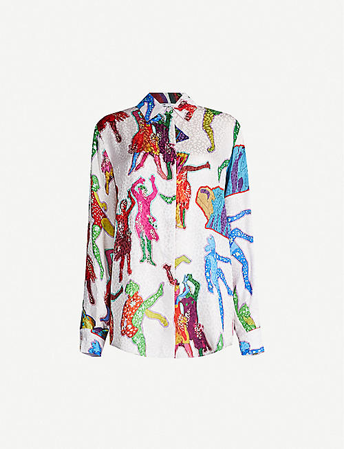 STELLA MCCARTNEY Graphic-print silk shirt