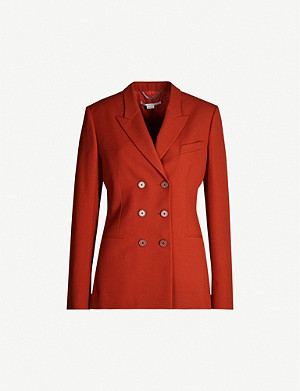 STELLA MCCARTNEY Double-breasted padded-shoulders wool blazer